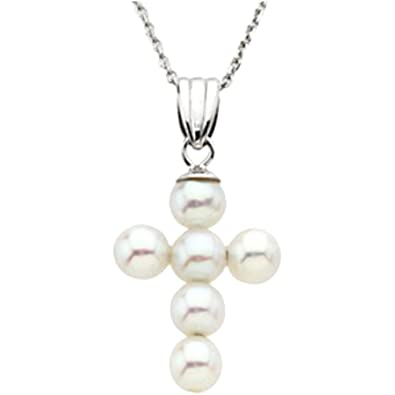 Amazon childrens freshwater cultured pearl cross 14k white gold childrens freshwater cultured pearl cross 14k white gold pendant necklace 45 5mm aloadofball Images