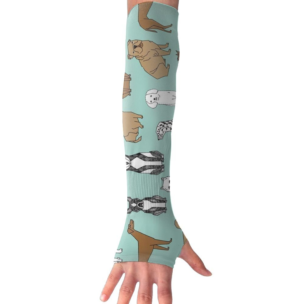 Happy Dogs Pale Turquoise Women Outdoor Sun Block Soft Long Arm Sleeve Fingerless Gloves