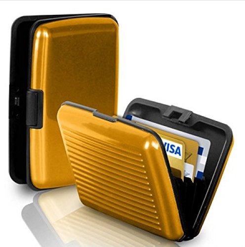 Aluminium Case / Etui für Kreditkarten Visitenkarten Portemonaie Geldbörse 607 (Gold )