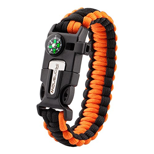 iRonsnow Emergency Paracord Bracelets Survival Gear, Flint Fire Starter, Whistle, Compass & Scraper/Knife|W, Wilderness Survival-Kit For Camping/Hiking/Boating/Sailing (Orange)
