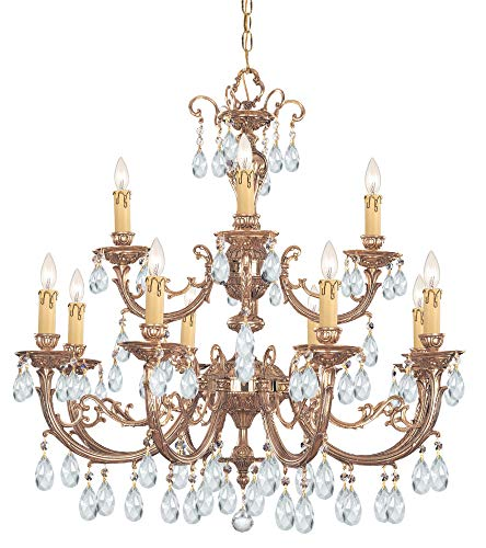 Crystorama 499-OB-CL-S Crystal 12 Light Chandelier from Etta collection in Brassfinish,