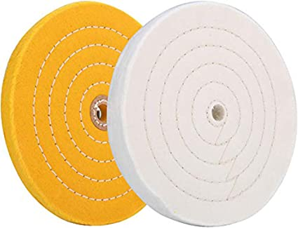 For Bench grinder With 1//2 Arbor Hole 70 Ply 1pc SCOTTCHEN Extra Thick High Grade Cloth 6 Inch Buffing Polishing Wheel Yellow Medium