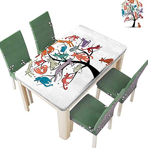 Printsonne Polyester Tablecloth Cat Tree Various Kitti The Branch Little Paws Childish Cheerful Work Spillproof Tablecloth 54 x 72 Inch (Elastic ()