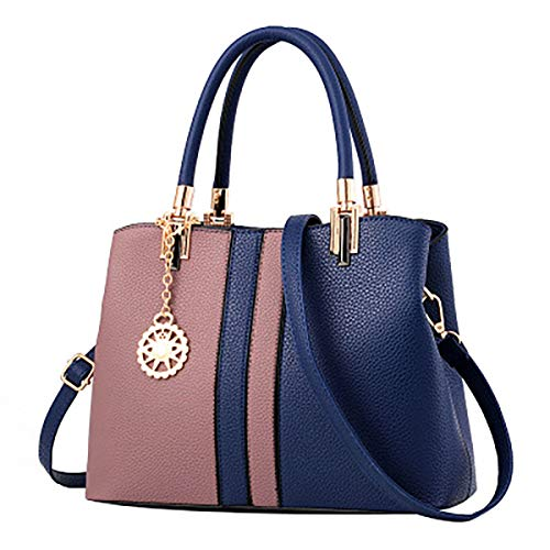 Blue Leather 13 Contrast x 30 for Ladies Zipper Fashion Color Handbag Nylon PU Purple EDLUX Royal x Bag with Dark Women 23cm zOvqzCX1
