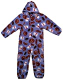 Made with Love and Kisses Adult's Fuzzy Plush Jumpsuit/One Piece Pajama With Hood - Blue Milk and Cookies - M/L