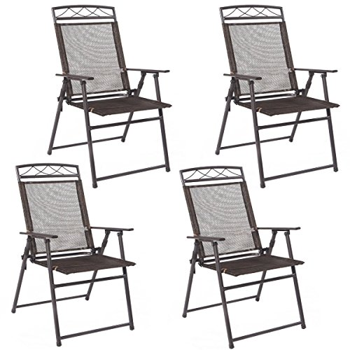 New Set of 4 Patio Folding Sling Chairs Steel Textilene Camping Deck Garden Pool (Back Chairs Patio Sale Sling)