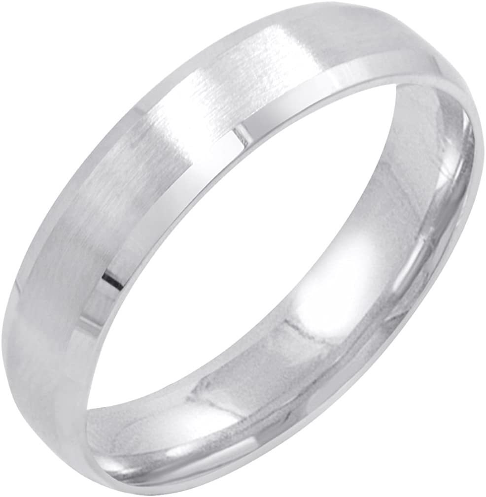 Men's 10K Yellow or White Gold 5mm Comfort Fit Satin Finish Beveled Edge Wedding Band (Available Ring Sizes 8-12 1/2)