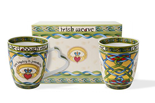 (Irish Claddagh Mug Set of Two with Irish Gift Box)