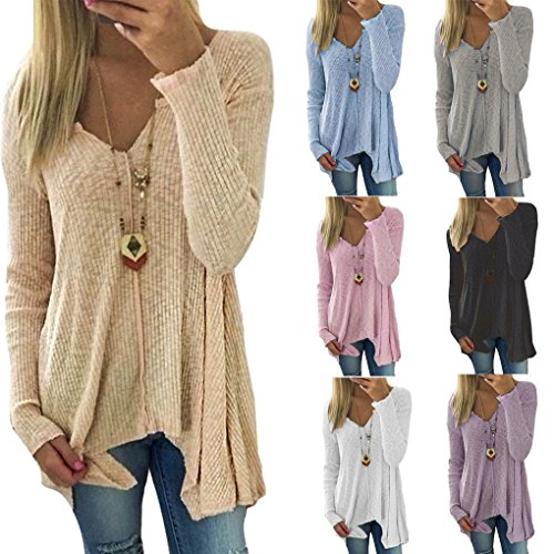 Top Col Irr Chandail Minetom Sweater Bord Longues Printemps Tricot Femme Pull V Manches qg7Yaft