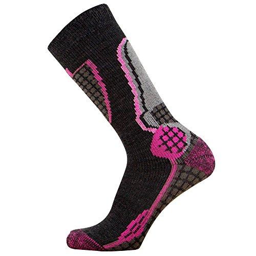 Junior High Performance Ski Socks - Children OTC Warm Snowboard, Skiing Socks Boys, Girls (S/M, Black/Neon Pink)
