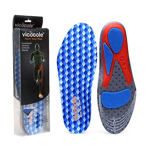 VOCOFA Flat Feet Insole Athlete Shoe Insole Arch Support Running Insert Blue Men 8.5-11