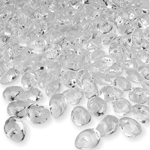 PMLAND 500 PCs 16mm Clear Acrylic Stones Table Scattering Wedding Bridal Baby Shower Party Decorations Vase Fillers, Cute Irregular Almond Shape 1 LB