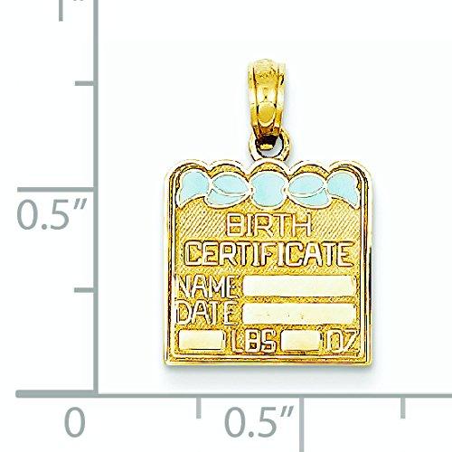 Bleu émaillé 14 Carats Pendentif JewelryWeb certificat de naissance