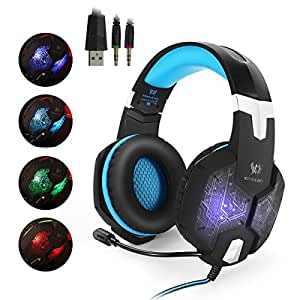 EasySMX Color-Changing Breathing LED Light Wired Gaming Headset PC Headset with Microphone 3.5mm Stereo Over-ear Headphones for PC Laptop Computer Volume Control One-key Mute (Black and Blue)