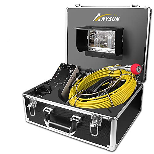 Sewer Camera,Anysun 50m/164ft Drain Pipe Inspection Cameras-Snake Cam Video Inspection Camera With 7 Inches LCD Monitor(Include 8GB SD Card) (Sewer Snake Camera)