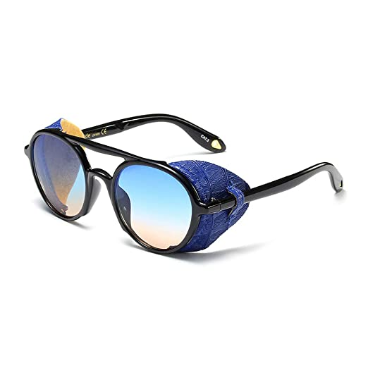 51ac97973 Steampunk Men Sunglasses With Side Shields 2019 Summer Style Leather Round  Sun Glasses For Women Retro