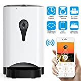 Carina smart automatic pet food dispenser 1280 720 res armed with video/audio and 130 degree wide home surveillance HD camera and 9.7 x 11.8 x 15'' white color feeds large dogs to cats