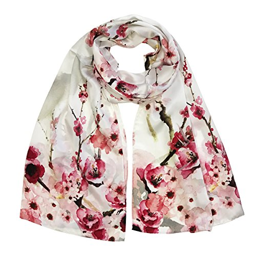 - Wrapables Luxurious 100% Charmeuse Silk Long Scarf with Hand Rolled Edges, Pink Petals
