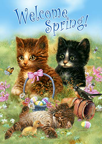 Toland Home Garden 1112289 Welcome Spring Kittens 12.5 x 18 Inch Decorative, Easter Meadow Critters, Garden Flag