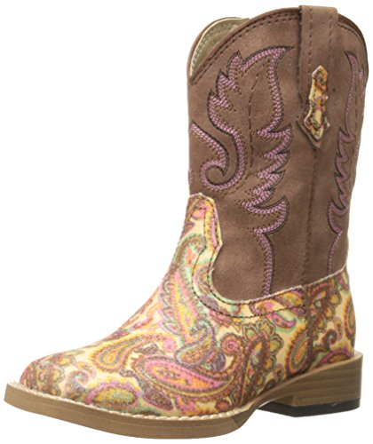 Roper Glitter Square Toe Cowgirl Boot (Infant/Toddler/Little Kid/Big Kid), Brown Glitter Paisley, 5 M US Toddler