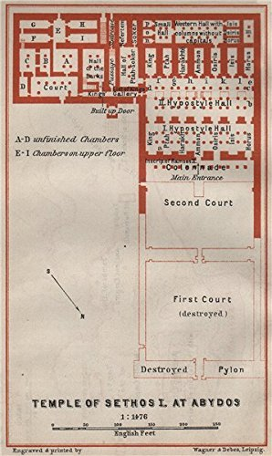 Temple Of Sethos I At Abydos Ground Plan Egypt Baedeker 1914