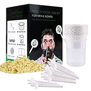 Nose Wax for Men & Women,Nose Hair Removal Wax Kit with Safe Tip Applicator,Safe, Quick and Painless(50g/10 Times Usage Paper Cup)