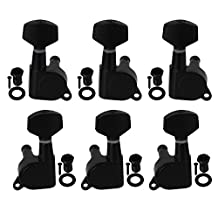 Yibuy 3L3R Black Nickel Plated Guitar Tunning Pegs with Square Tips for Guitar Set of 6