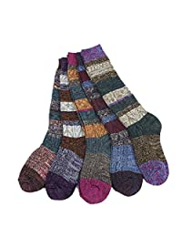 Santwo Colorful Stripe Warm Wool Blend Knited Hold-up Boot Crew Socks Leg Warmer
