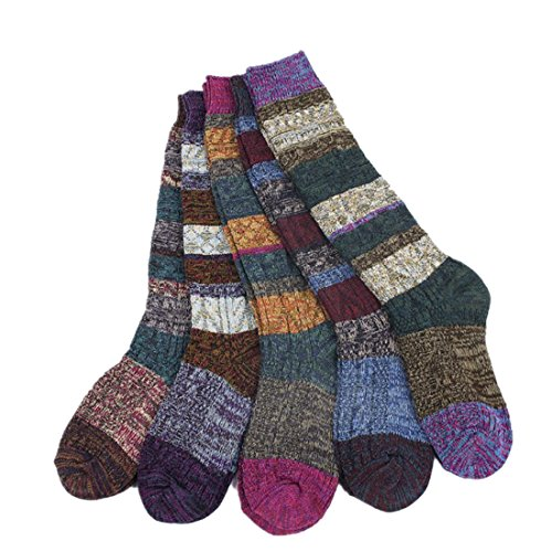 Santwo Colorful Stripe Warm Wool Blend Knited Hold-up Boot Crew Socks Leg Warmer 1-5 Pairs Size - US 6.5-10.5 (model 2)