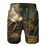 Tydo Baby Cat in Boots Men's Beach Shorts Quick Dry Swim Trunks Surf Board Pants with Pockets for Men XL