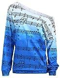 tescous Women's Causal One Shoulder Prints Long Sleeve Blouse Tee Shirt Blue S