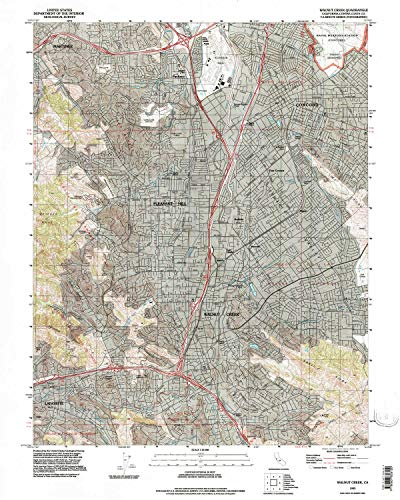 YellowMaps Walnut Creek CA topo map, 1:24000 Scale, 7.5 X 7.5 Minute, Historical, 1993, Updated 1997, 26.9 x 21.5 in - Paper