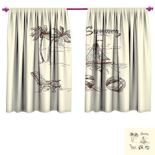 Beach Waterproof Window Curtain Monochrome Tropical Elements Tree Boat Umbrella Wooden Chair Pattern Sketch Design Decorative Curtains for Living Room W55 x L39 Beige Brown