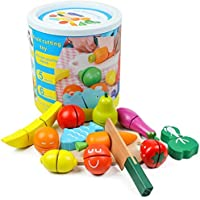 Wooden Kitchen Toys Cutting Fruits Vegetables Colorful Pretend Play Baby Puzzle Toys Children Early Educational Magic…