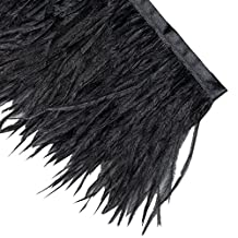 Neotrims Luxurious High Fashion Real Ostrich Feather Quality Fur Satin Ribbon Trimming Fringe 10-12 cm. Two Stunning Colours: Natural Cream or Black. Great Price