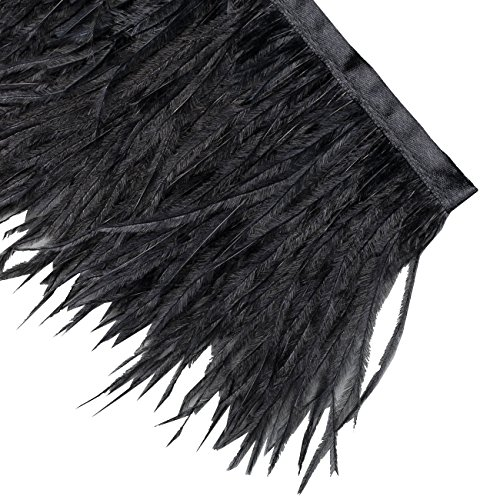 Marabou Feather Fur (Neotrims Luxurious High Fashion Real Ostrich Feather Quality Fur Satin Ribbon Trimming Fringe 10-12 cm. Five Stunning Colours: Natural Cream, Black, Red White, Black White and Grey White.)