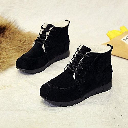 Black US7.5   EU38   UK5.5   CN38 Black US7.5   EU38   UK5.5   CN38 HSXZ Women's shoes Cashmere Winter Snow Boots Boots Flat Heel Round Toe Mid-Calf Boots for Casual Red Black