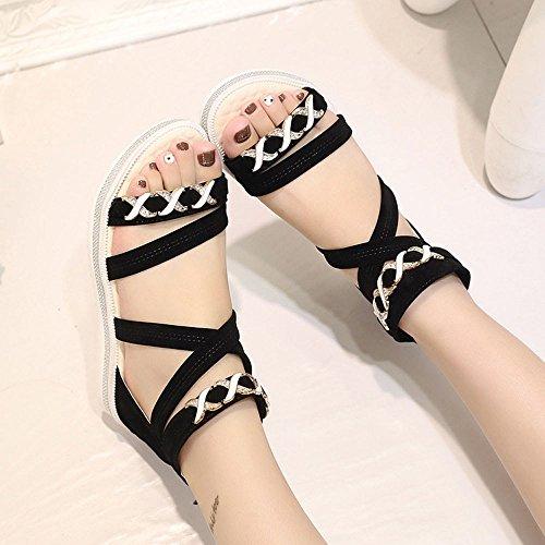 Ularma Sandalias cuero suave plana talón zapatos mujer negro