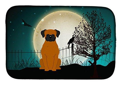 (Caroline's Treasures BB2305DDM Halloween Scary Fawn Boxer Dish Drying Mat, 14