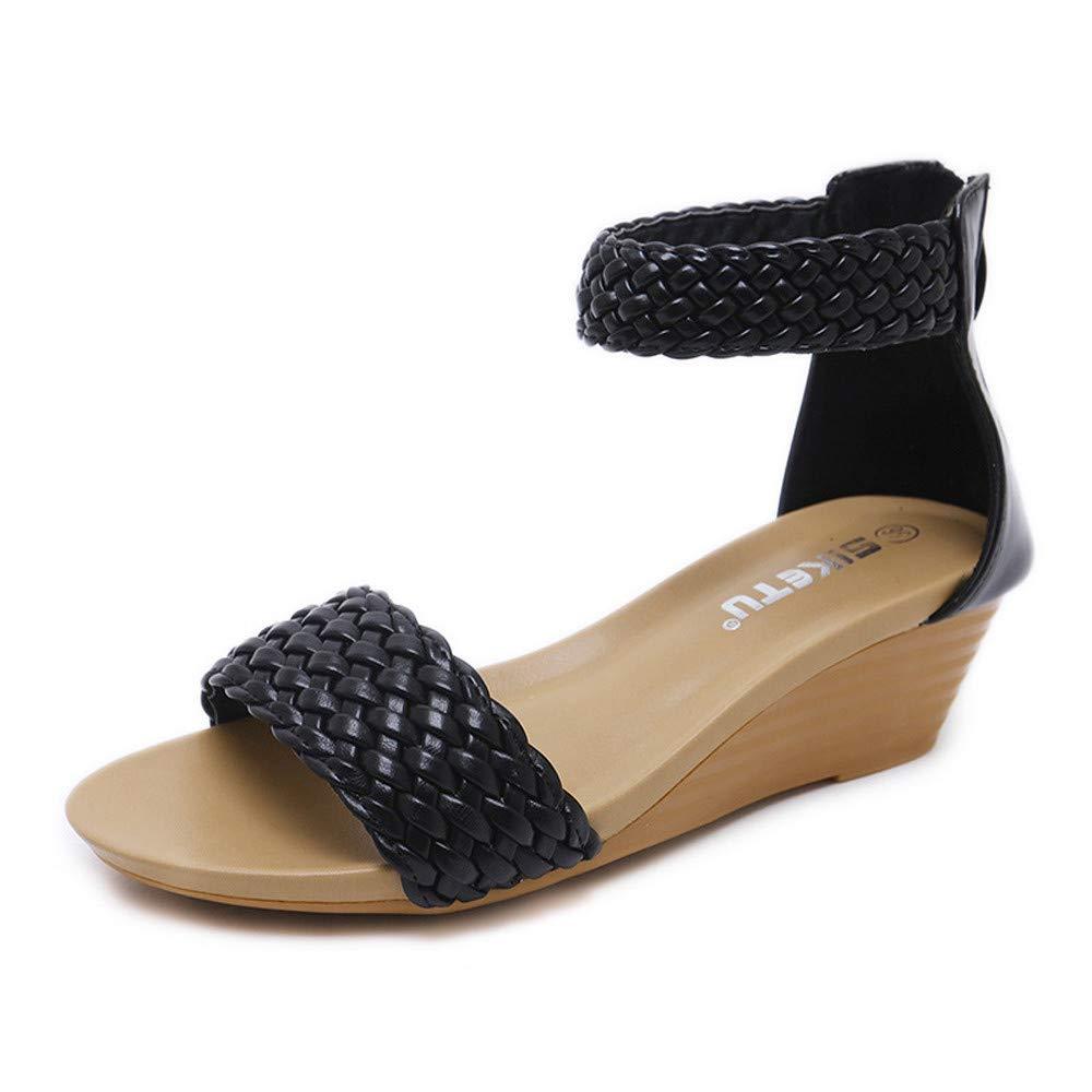 Luckhome Damen Sandalen, Frauen Mädchen Böhmischen Mode Flache Beiläufige Sandalen Strand Sommer Schuhe Frau Geschenk Böhmen Wedges Weave Middle Heel(Schwarz,EU:38)