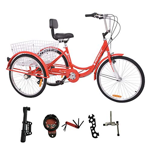 MOPHOTO Adult Tricycle Trike Cruiser Bike Three-Wheeled