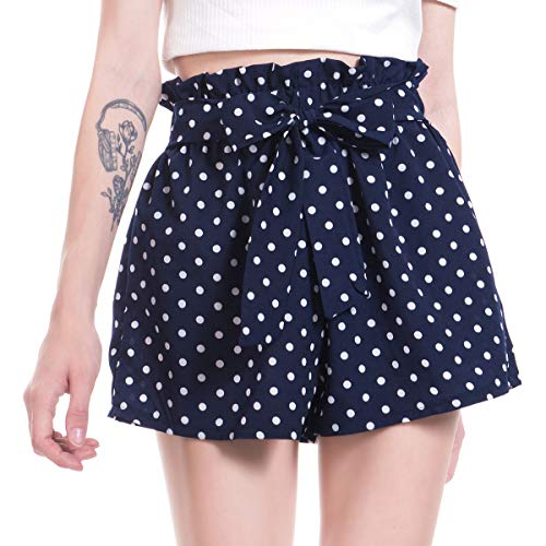 Amormio  Women's Casual Polka Dot Ruffle Bow-Tie Elastic Waist Summer Beach Jersey Walking Shorts (Blue, XXX-Large (US=16-18))