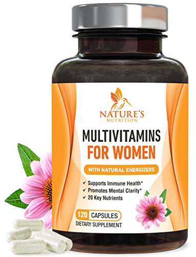 Once Daily Multivitamin for Women, Ultra Potency 1000mg - Raw Whole Food Vitamins A B C D E, Biotin, Calcium, Zinc, Lutein, Magnesium, Manganese, Folic Acid. Nature's Nutrition - 120 Veggie Capsules