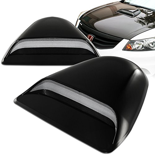 (Mega Racer Universal JDM Style Decorative Hood Scoop Smoke Black Sport Racing Air Flow Intake Vent Cover Auto)