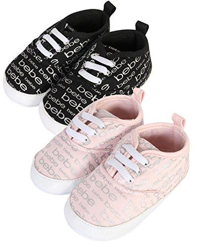 bebe Baby Girl's Lace-Up Crib Shoe, Light Pink/Black, Size 2 M Us ()