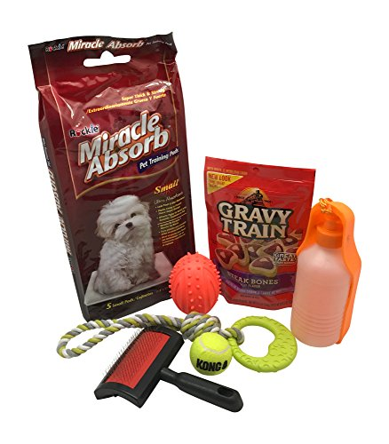 New Puppy Gift Basket-Dog Gift Set w/New Puppy Dog Toys For Small Dogs (Kong Ball, Puppy Chew Toy), Dog Water Bottle Dispenser, Grooming Brush, Puppy Housebreaking Pads, Puppy Treats