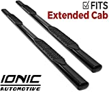 Ionic 'Pro' Series 4' Black (fits) 1999-2013 Chevy Silverado GMC Sierra Double/Extended Cab Only Nerf Bars Truck Side Steps (410209)