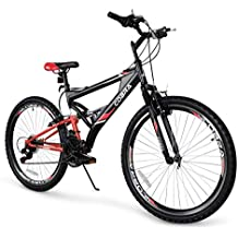 """Akonza Cobra 26"""" Mountain Bicycle Road Full Suspension 7-Speed Compatible Outdoor MTB Bike, Red/Black"""