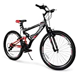 Akonza Cobra 26' Mountain Bicycle Road Full Suspension 7-Speed Shimano Outdoor MTB Bike, Red/Black