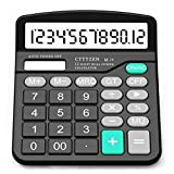 Calculator,12-Digit Solar Battery Basic Calculator,Solar Battery Dual Power with Large LCD Display Office Calculators by CloudWave (Black002)